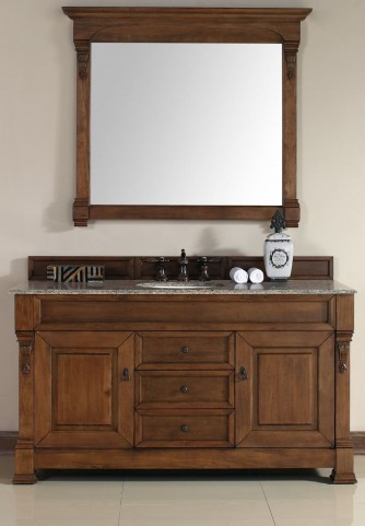 "Brookfield 60"" Country Oak Single Vanity With 2Cm Santa Cecilia Granite Top"