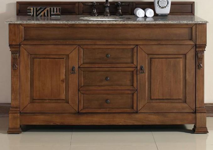 "Brookfield 60"" Country Oak Single Vanity With 2Cm Santa Cecilia Granite Top"
