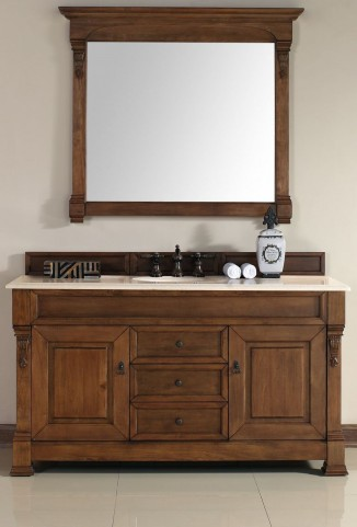 "Brookfield 60"" Country Oak Single Vanity With 2Cm Galala Beige Marble Top"