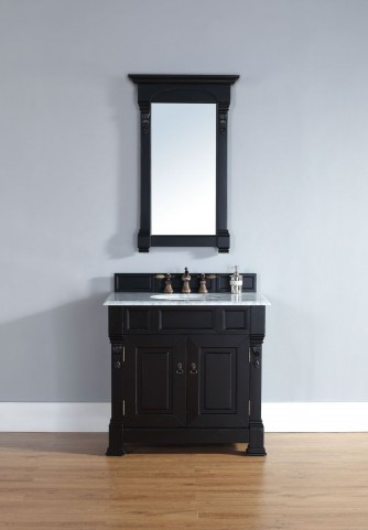 "Brookfield 36"" Antique Black Single Vanity With 2Cm Carerra White Marble Top"