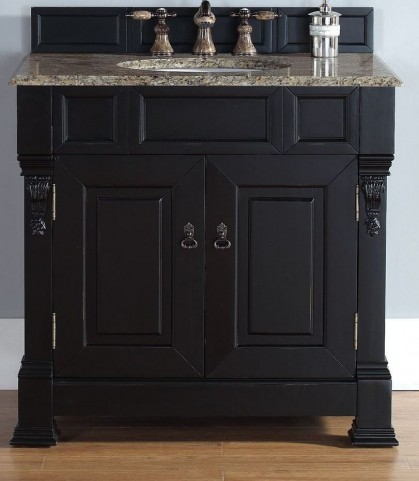 "Brookfield 36"" Antique Black Single Vanity With 2Cm Santa Cecilia Granite Top"