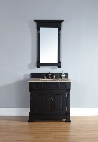 "Brookfield 36"" Antique Black Single Vanity With 2Cm Galala Beige Marble Top"