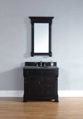 "Brookfield 36"" Antique Black Single Vanity With 2Cm Black Granite Top"