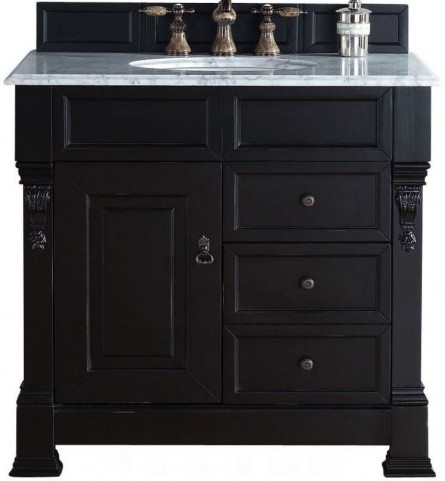 """Brookfield 36"""" Antique Black Single Vanity With 2Cm Carerra White Marble Top"""