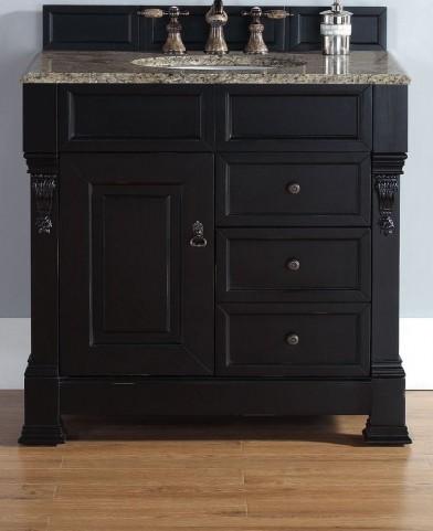 """Brookfield 36"""" Antique Black Single Vanity With 2Cm Santa Cecilia Granite Top"""