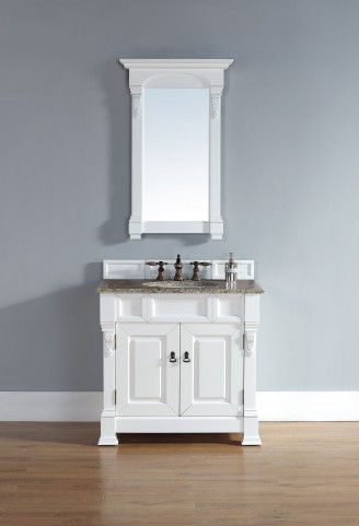 "Brookfield 36"" Cottage White Single Vanity With 2Cm Santa Cecilia Granite Top"