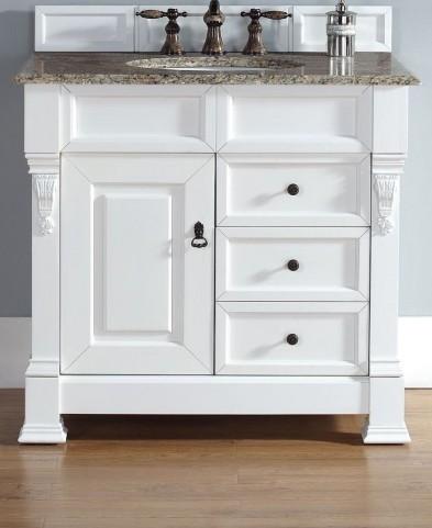 "Brookfield 36"" Cottage White Single Vanity With 2Cm Santa Cecilia Granite Top"
