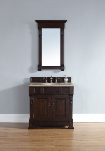 "Brookfield 36"" Burnished Mahogany Single Vanity With 2Cm Galala Beige Marble Top"