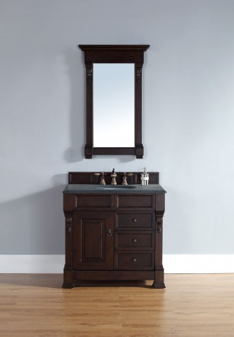 "Brookfield 36"" Burnished Mahogany Single Vanity With 2Cm Black Granite Top"