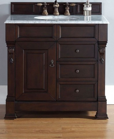 "Brookfield 36"" Burnished Mahogany Single Vanity With 2Cm Carerra White Marble Top"