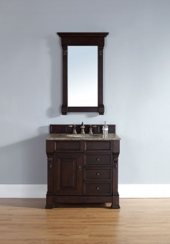 "Brookfield 36"" Burnished Mahogany Single Vanity With 2Cm Santa Cecilia Granite Top"