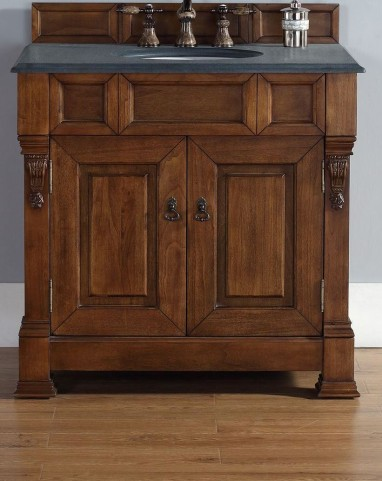 "Brookfield 36"" Country Oak Single Vanity With 2Cm Black Granite Top"