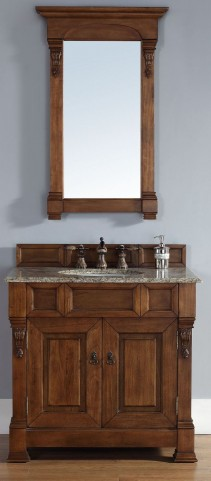 "Brookfield 36"" Country Oak Single Vanity With 2Cm Santa Cecilia Granite Top"