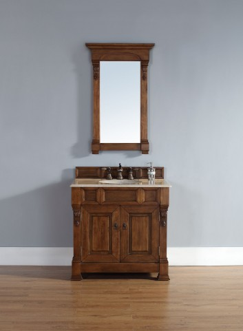 "Brookfield 36"" Country Oak Single Vanity With 2Cm Galala Beige Marble Top"