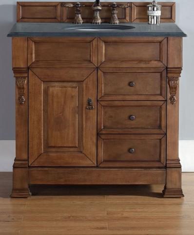 """Brookfield 36"""" Country Oak Single Vanity With 2Cm Black Granite Top"""