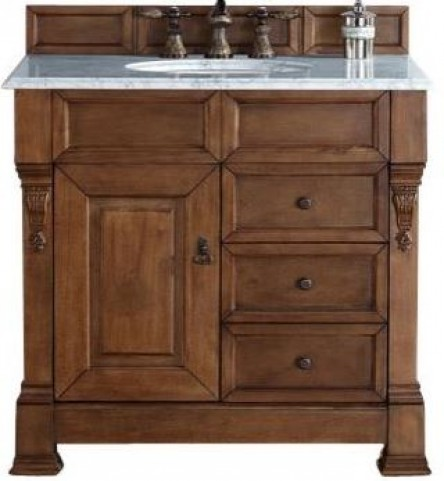 "Brookfield 36"" Country Oak Single Vanity With 2Cm Carerra White Marble Top"