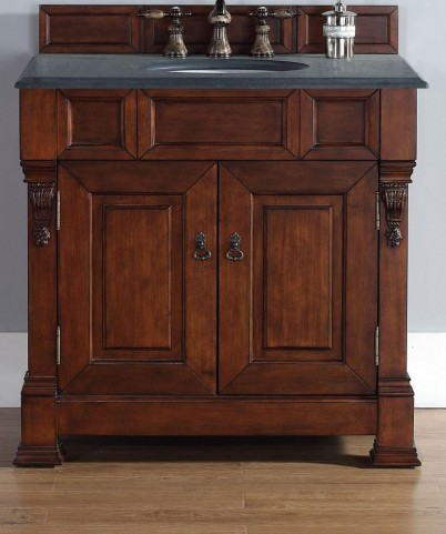 "Brookfield 36"" Warm Cherry Single Vanity With 2Cm Black Granite Top"