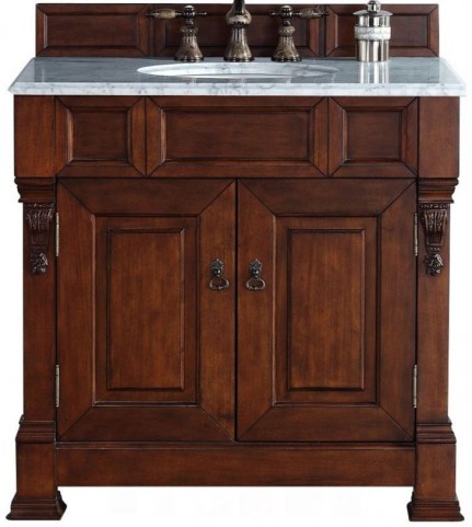 """Brookfield 36"""" Warm Cherry Single Vanity With 2Cm Carerra White Marble Top"""