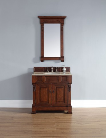 "Brookfield 36"" Warm Cherry Single Vanity With 2Cm Galala Beige Marble Top"