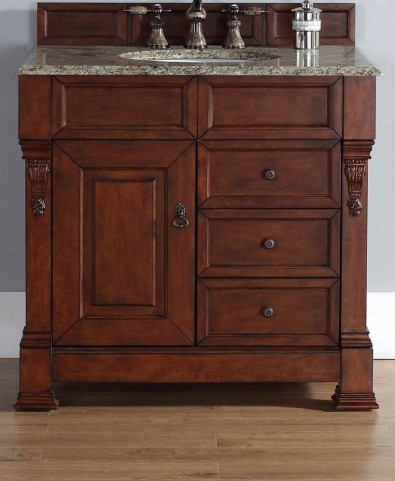"Brookfield 36"" Warm Cherry Single Vanity With 2Cm Santa Cecilia Granite Top"
