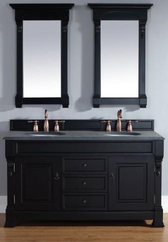 "Brookfield 60"" Antique Black Double 2CM Top Vanity Set"