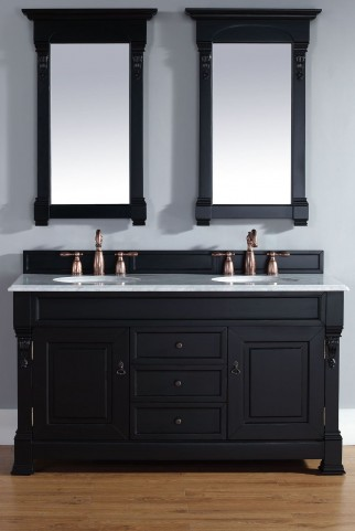 "Brookfield 60"" Antique Black Double Vanity With 2Cm Carerra White Marble Top"