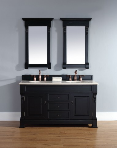 "Brookfield 60"" Antique Black Double Vanity With 2Cm Galala Beige Marble Top"