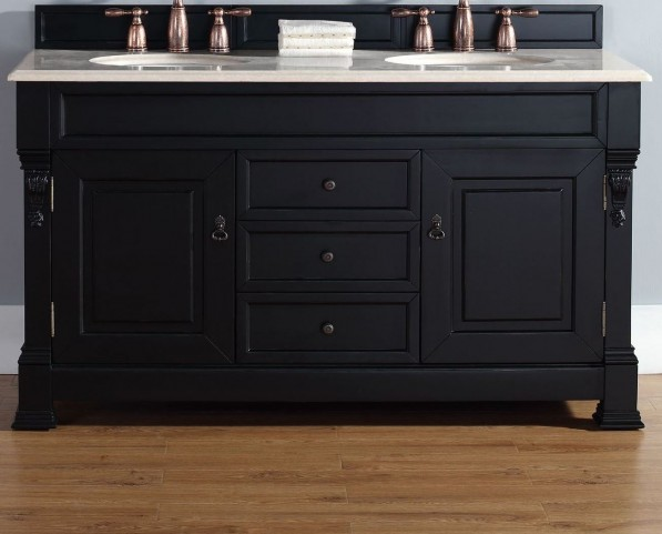 "Brookfield 60"" Antique Black Double Vanity With 2Cm Galala Beige Marble Top"
