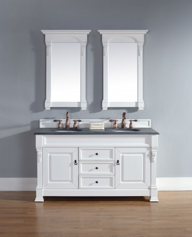 "Brookfield 60"" Cottage White Double Vanity With 2Cm Black Granite Top"
