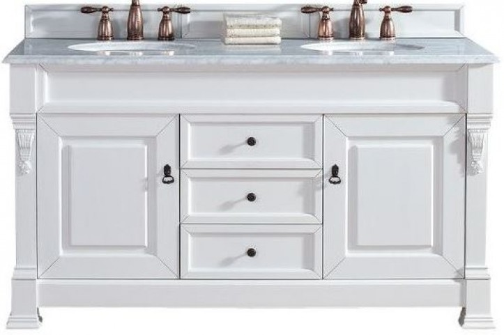 "Brookfield 60"" Cottage White Double Vanity With 2Cm Carerra White Marble Top"