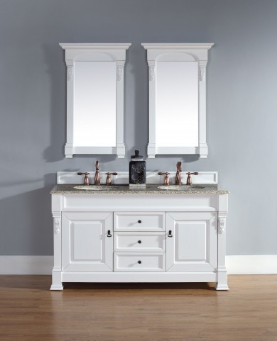 "Brookfield 60"" Cottage White Double Vanity With 2Cm Santa Cecilia Granite Top"