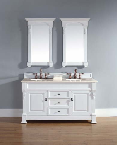 "Brookfield 60"" Cottage White Double Vanity With 2Cm Galala Beige Marble Top"