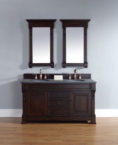 "Brookfield 60"" Burnished Mahogany Double Vanity With 2Cm Black Granite Top"