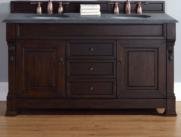 """Brookfield 60"""" Burnished Mahogany Double Vanity With 2Cm Black Granite Top"""