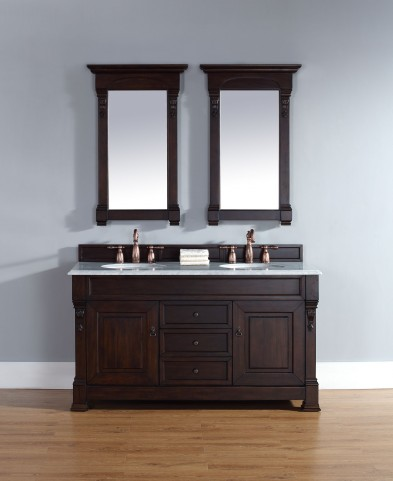 "Brookfield 60"" Burnished Mahogany Double Vanity With 2Cm Carerra White Marble Top"
