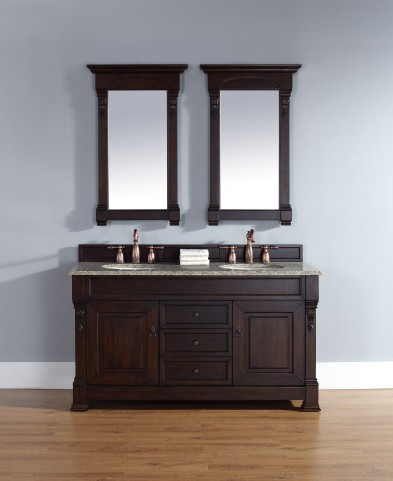 "Brookfield 60"" Burnished Mahogany Double Vanity With 2Cm Santa Cecilia Granite Top"