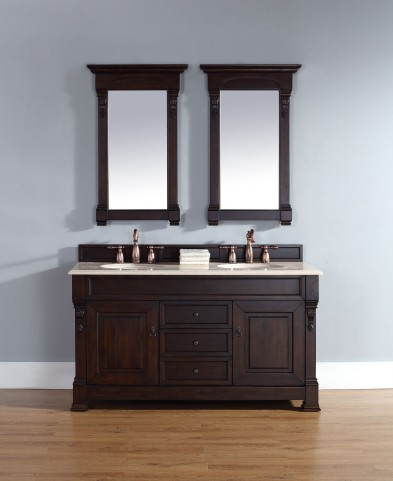 "Brookfield 60"" Burnished Mahogany Double Vanity With 2Cm Galala Beige Marble Top"