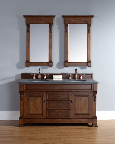 "Brookfield 60"" Country Oak Double Vanity With 2Cm Black Granite Top"