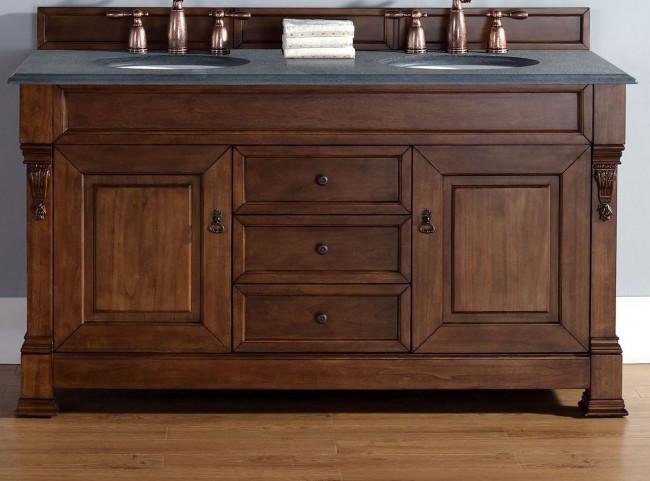 """Brookfield 60"""" Country Oak Double Vanity With 2Cm Black Granite Top"""