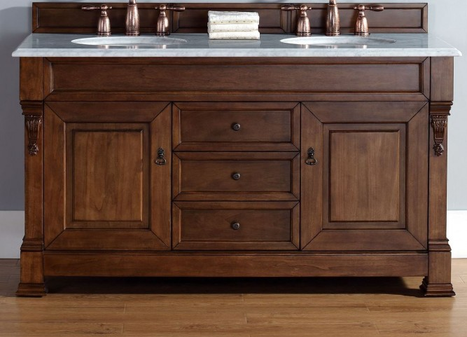 "Brookfield 60"" Country Oak Double Vanity With 2Cm Galala Beige Marble Top"