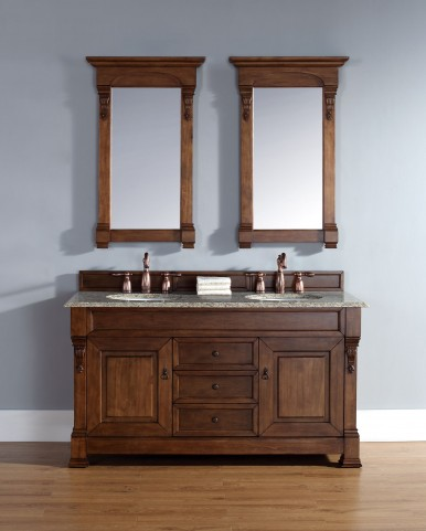 "Brookfield 60"" Country Oak Double Vanity With 2Cm Santa Cecilia Granite Top"