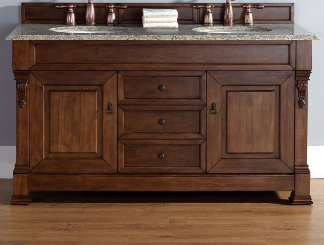 "Brookfield 60"" Country Oak Double Vanity With 2Cm Santa Cecilia Granite Top"