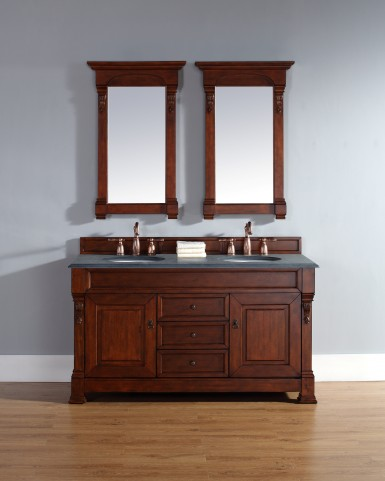 "Brookfield 60"" Warm Cherry Double 2CM Top Vanity Set"