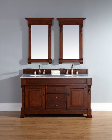 "Brookfield 60"" Warm Cherry Double Vanity With 2Cm Carerra White Marble Top"