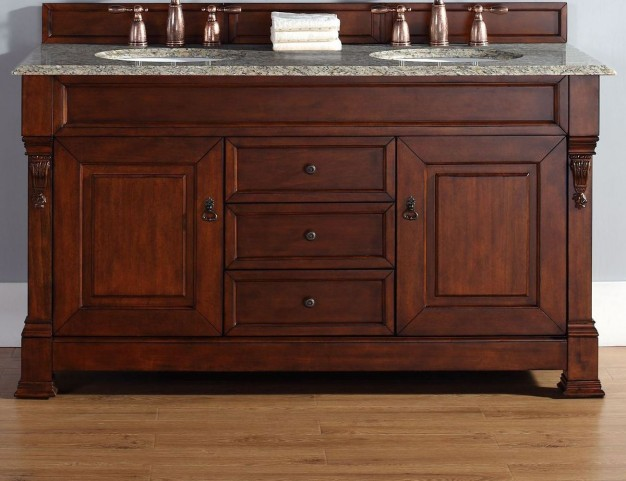 "Brookfield 60"" Warm Cherry Double Vanity With 2Cm Santa Cecilia Granite Top"