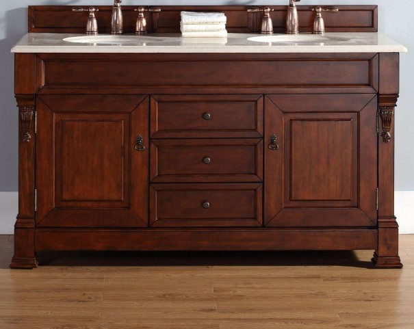"Brookfield 60"" Warm Cherry Double Vanity With 2Cm Galala Beige Marble Top"