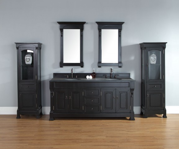 "Brookfield 72"" Antique Black Double Vanity With 2Cm Black Granite Top"