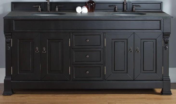 "Brookfield 72"" Antique Black Double Vanity With 2Cm Black Granite Top"