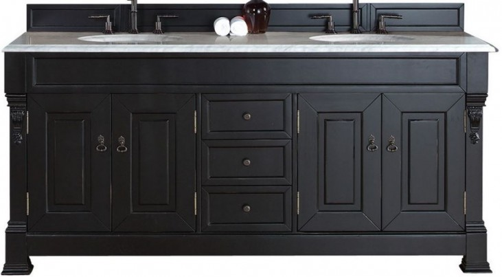"""Brookfield 72"""" Antique Black Double Vanity With 2Cm Carerra White Marble Top"""