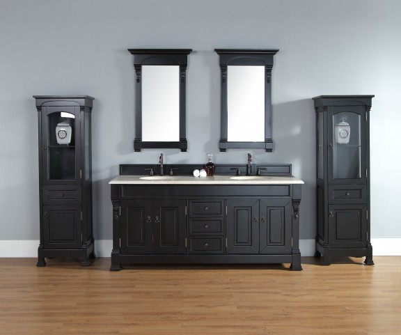 "Brookfield 72"" Antique Black Double Vanity With 2Cm Galala Beige Marble Top"
